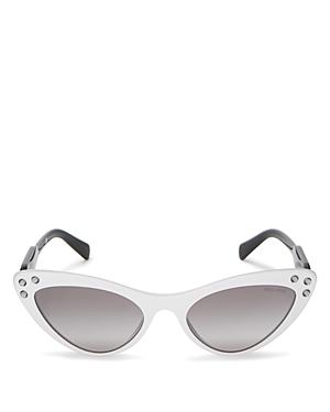 Miu Miu Women's Embellished Mirrored Gradient Cat Eye Sunglasses, 55mm