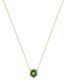 "Gucci 18K Yellow Gold Le Marché Des Merveilles Jade & Diamond Feline Head Pendant Necklace, 16"" - Bloomingdale's_0"