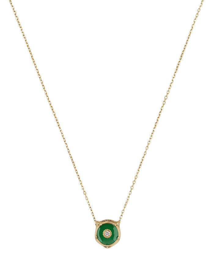 Gucci - 18K Yellow Gold Le Marché Des Merveilles Jade & Diamond Feline Head Pendant Necklace, 16""