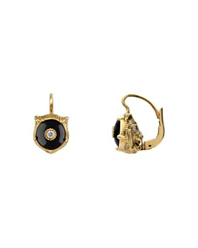 42096558552 Gucci - 18K Yellow Gold Le Marché Des Merveilles Onyx   Diamond Feline Drop  Earrings