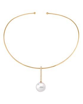 "Majorica - Simulated Pearl Open Collar Necklace, 5"""