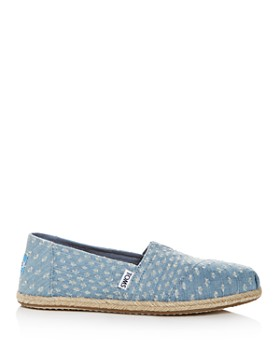 TOMS - Women's Distressed Denim Alpargata Espadrille Flats