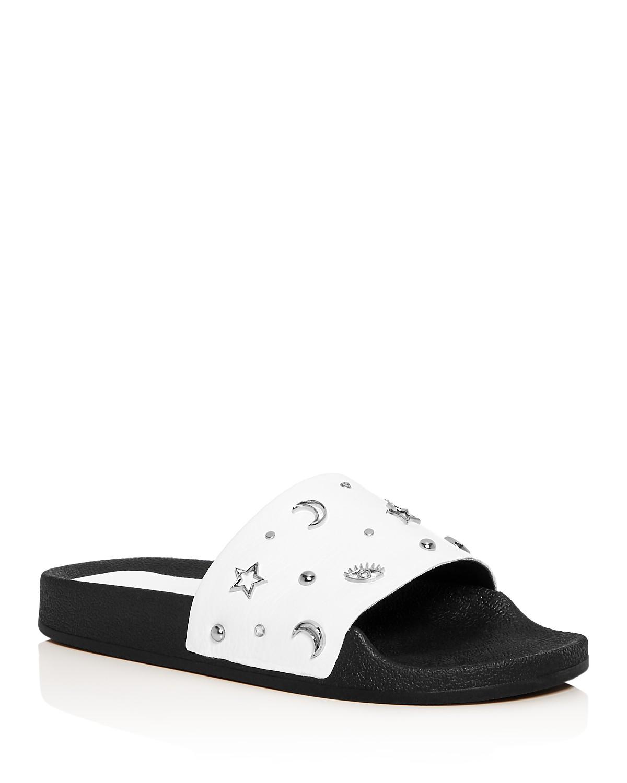 Rebecca Minkoff Women's Thunder Embellished Leather Slide Sandals