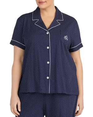 Bermuda Short Sleeve Pajama Set, Navy Dot
