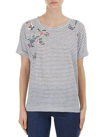 Gerard Darel - Priscilla Embroidered Striped Linen Top