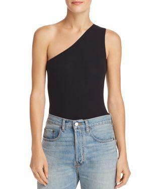 One-Shoulder Ribbed Jersey Bodysuit, Black