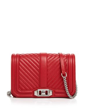 Love Small Chevron Quilted Leather Crossbody in Red