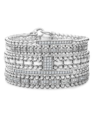 Sterling Silver Caviar Spark Diamond Rectangle Link Bracelet