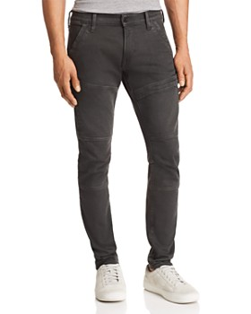 G-STAR RAW - Rackam Super Slim Fit Moto Jeans in Asfalt