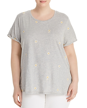 New Lucky Brand Plus Embroidered-Daisy Tee, Heather Gray