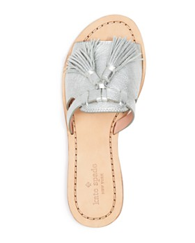 kate spade new york - Women's Coby Metallic Leather Tassel Slide Sandals