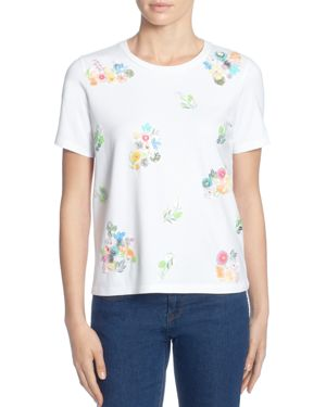 Short-Sleeve Sequin-Flower Tee, Bright White
