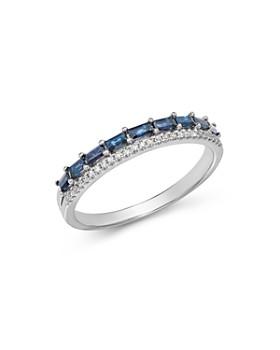 KC Designs - 14K White Gold Mosaic Sapphire & Diamond Stacking Ring