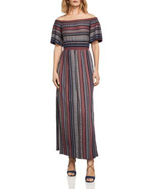 CHARLA STRIPED OFF-THE-SHOULDER MAXI DRESS