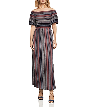 Bcbgmaxazria Charla Striped Off-the-Shoulder Maxi Dress