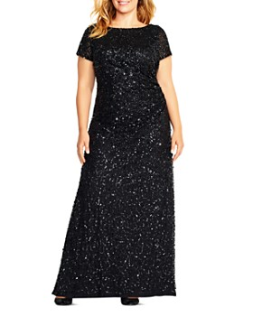 Adrianna Papell Plus - Sequined Cowl-Back Gown