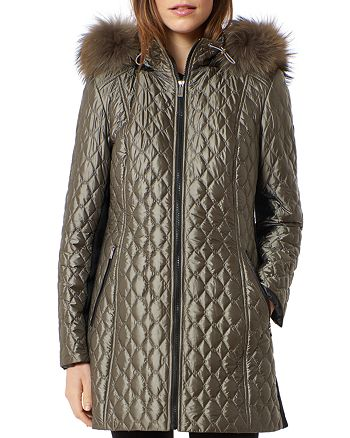 One Madison - Diamond Quilted Fox Fur Trim Down Coat