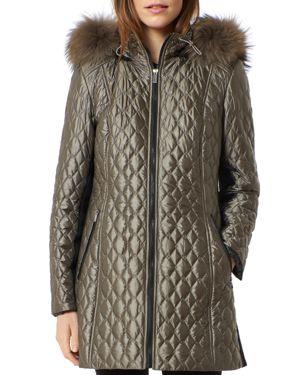 One Madison Diamond Quilted Fox Fur Trim Down Coat