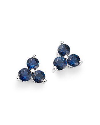 Bloomingdale's - Sapphire Three Stone Stud Earrings in 14K White Gold - 100% Exclusive