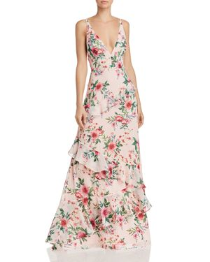 FAME AND PARTNERS DELANY FLORAL-PRINT RUFFLED GOWN