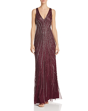 Adrianna Papell Embellished V-Neck Sheath Gown