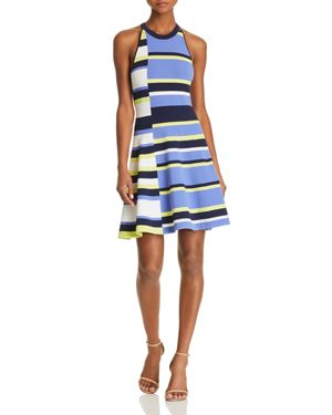 SHEA FIT-AND-FLARE STRIPED KNIT DRESS
