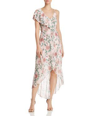ADELYN RAE Hannah Asymmetrical Ruffle Midi Dress, Petal Pink Multi