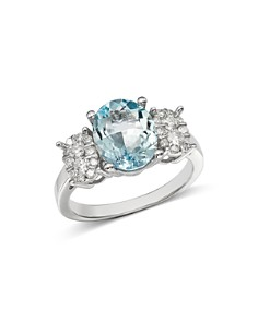 Bloomingdale's - Aquamarine Oval & Diamond Cluster Ring in 14K White Gold - 100% Exclusive