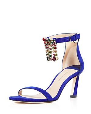 Stuart Weitzman Women's FringeSquareNudist Embellished Suede High-Heel Sandals