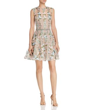 BRONX AND BANCO ISOLA FLORAL-EMBROIDERED MINI DRESS