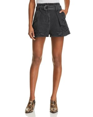 IRO.JEANS IRO. JEANS ROSA DESTROYED DENIM SHORTS IN BLACK WASHED GRAY