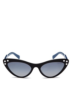 Miu Miu - Women's Embellished Mirrored Gradient Cat Eye Sunglasses, 55mm