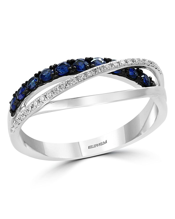 Bloomingdale S Blue Sapphire Diamond Crossover Ring In 14k White