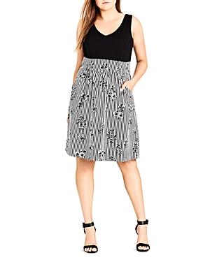 City Chic Plus Stripe Floral Dress
