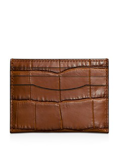 COACH Croc Embossed Leather Card Case - Bloomingdale's_0