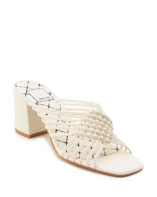 Dolce Vita Women's Delana Woven Leather High-Heel Slide Sandals BGXimG