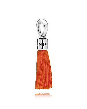 PANDORA - Sterling Silver & Fabric Orange Tassel Drop Charm