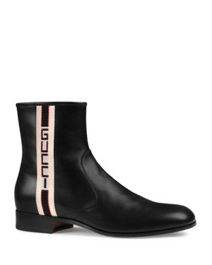 GUCCI Bonny Webbing-Trimmed Leather Chelsea Boots, Black