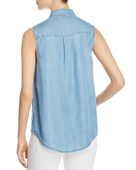 BeachLunchLounge - Chambray Sleeveless Button-Down Top