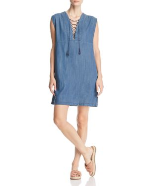 Hartley Chambray Lace-Up Dress in Light Blue