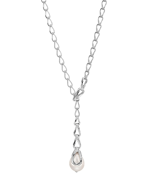 John Hardy Sterling Silver Bamboo Chain & Cultured Freshwater Pearl Y Necklace, 20