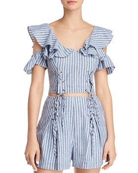 GUESS - Hermosa Cold-Shoulder Lace-Up Cropped Top