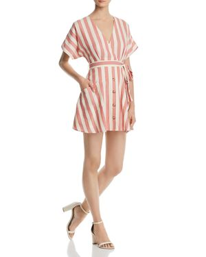 Button Detail Striped Dress - 100% Exclusive, Red Stripe