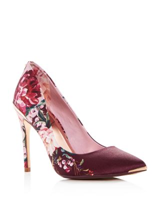 Women's Kawaap Floral Print Satin Pointed Toe Pumps by Ted Baker