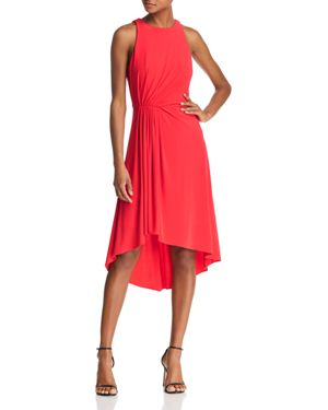ADRIANNA PAPELL Asymmetrical Matte Jersey Dress(Regular & Petite), Geranium