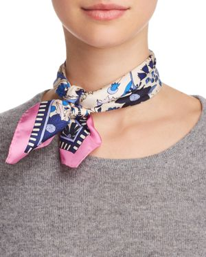 Meadow Folly Silk Neckerchief, Pink/Multi
