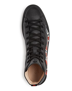 Gucci - Men's Snake Print Leather High Top Sneakers