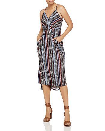 BCBGeneration - Striped Faux-Wrap Midi Dress