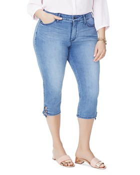NYDJ Plus - Lace-Up Cuff Skinny Capri Jeans in Point Dume