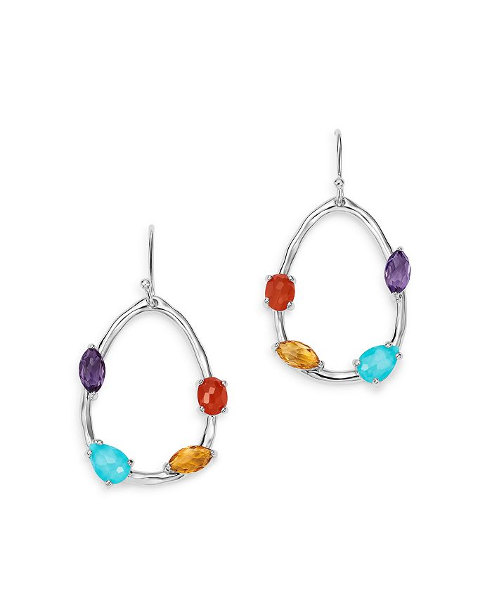 Ippolita STERLING SILVER ROCK CANDY TURQUOISE & CLEAR QUARTZ DOUBLET, AMETHYST, CARNELIAN AND QUARTZ PEAR DRO
